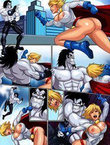 Super-heroínas contra o vilão Kiss